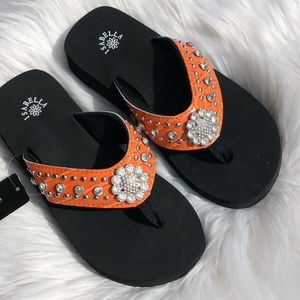 Isabella Orange Flats